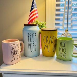 rae dunn 2 cellars and 2 mugs